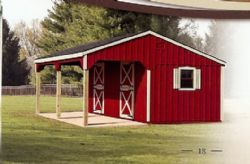 10 x 24 Stall Barn w/an 8' Lean-to